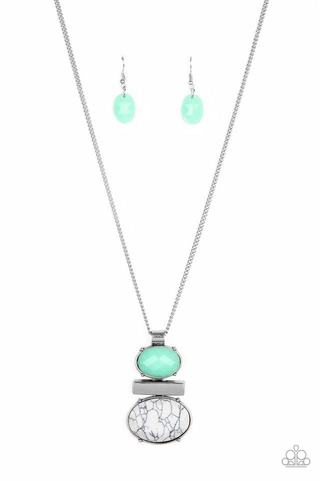 Finding Balance - Green - Paparazzi Necklace Image