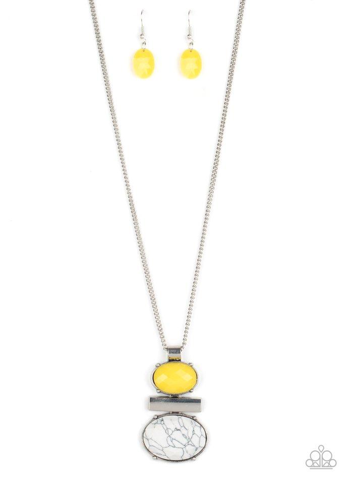 Finding Balance - Yellow - Paparazzi Necklace Image
