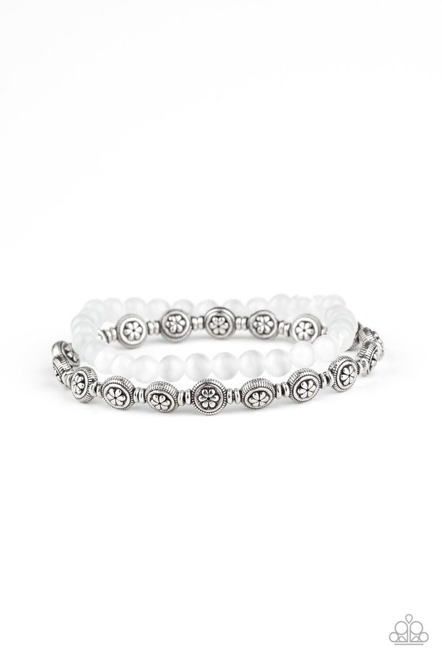 Dewy Dandelions - White - Paparazzi Bracelet Image