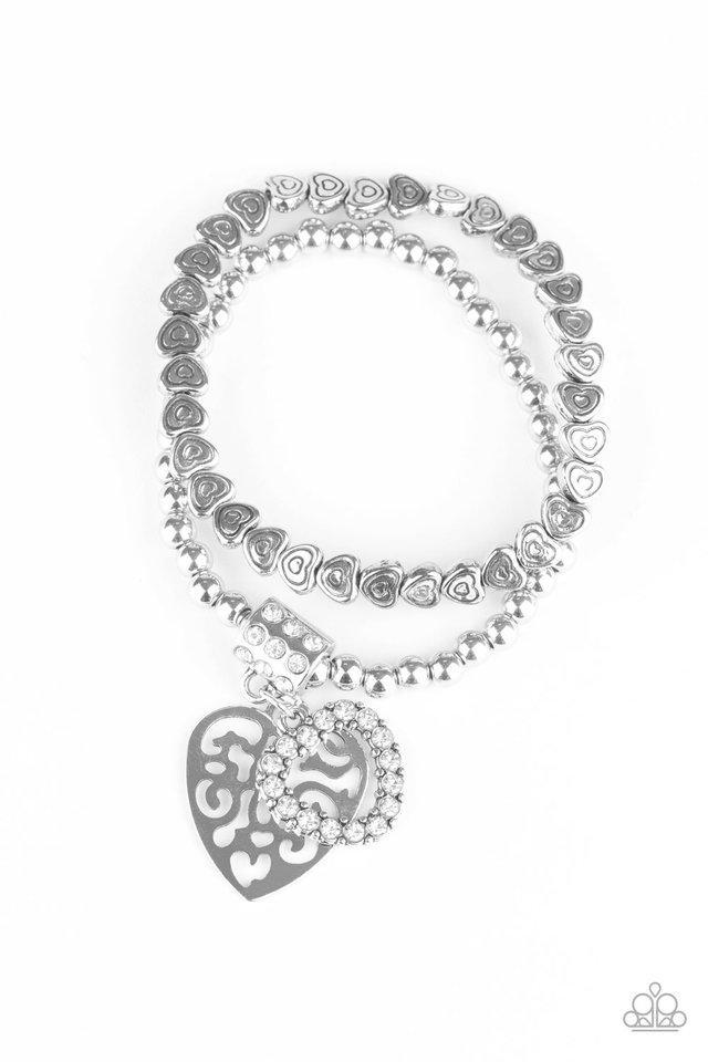 Think With Your Heart - White - Paparazzi Bracelet Image