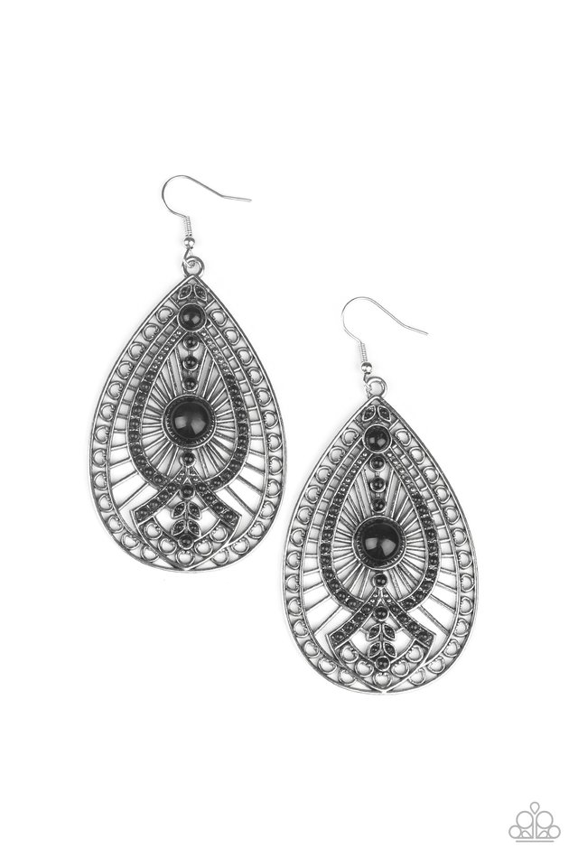 Just Dropping By - Black - Paparazzi Earring Image