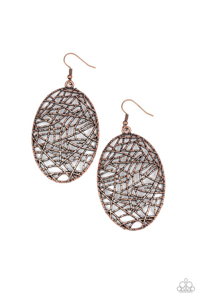 Way Out of Line - Copper - Paparazzi Earring Image
