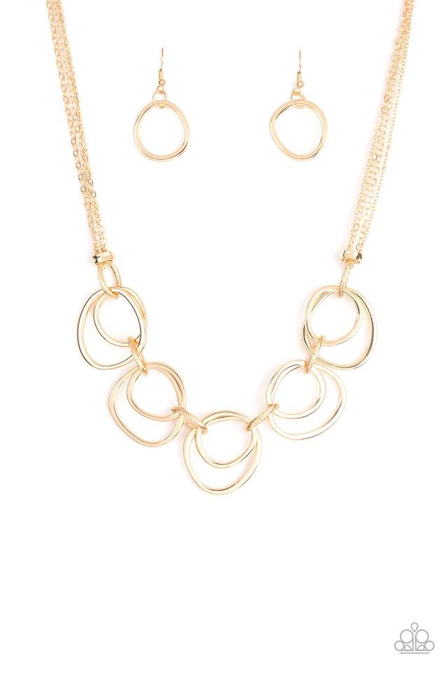 Asymmetrical Adornment - Gold - Paparazzi Necklace Image