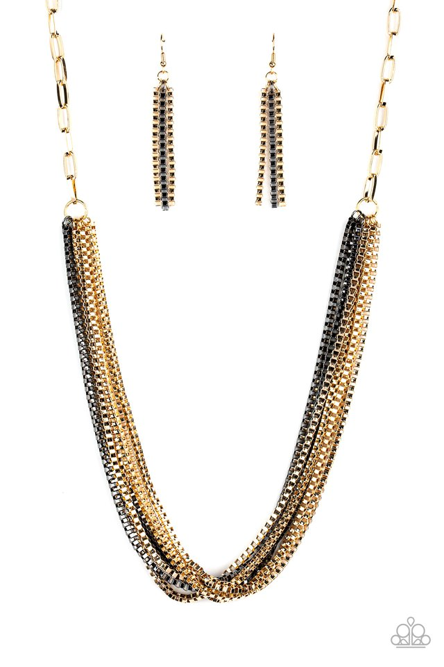 Beat Box Queen - Gold - Paparazzi Necklace Image