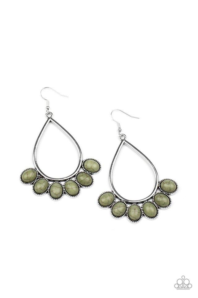 Stone Sky - Green - Paparazzi Earring Image