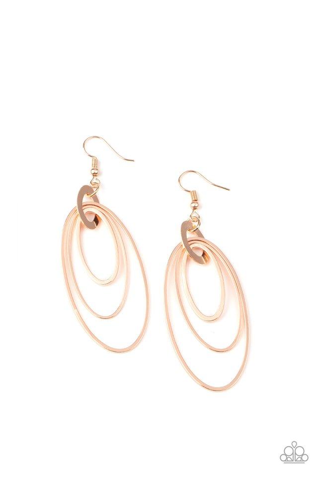 Shimmer Surge - Rose Gold - Paparazzi Earring Image