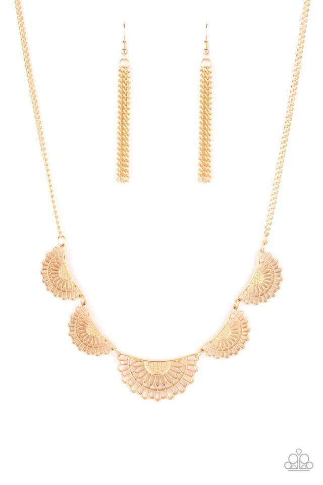 Fanned Out Fashion - Gold - Paparazzi Necklace Image