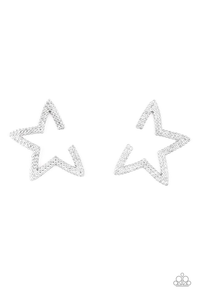 Star Player - White - Paparazzi Earring Image