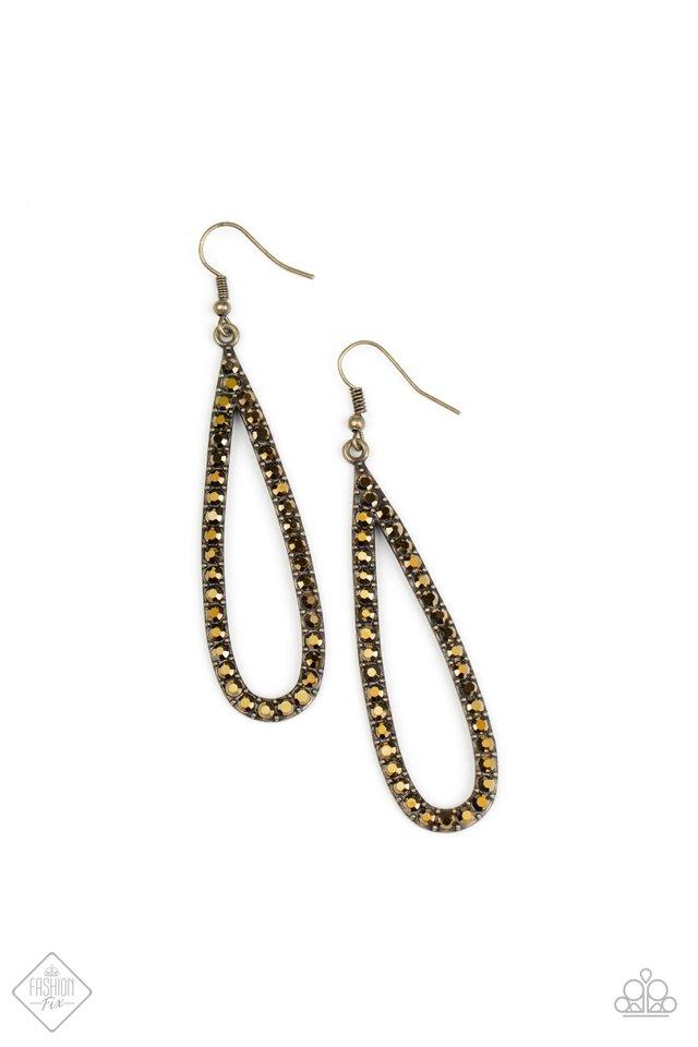 Glitzy Goals - Brass - Paparazzi Earring Image