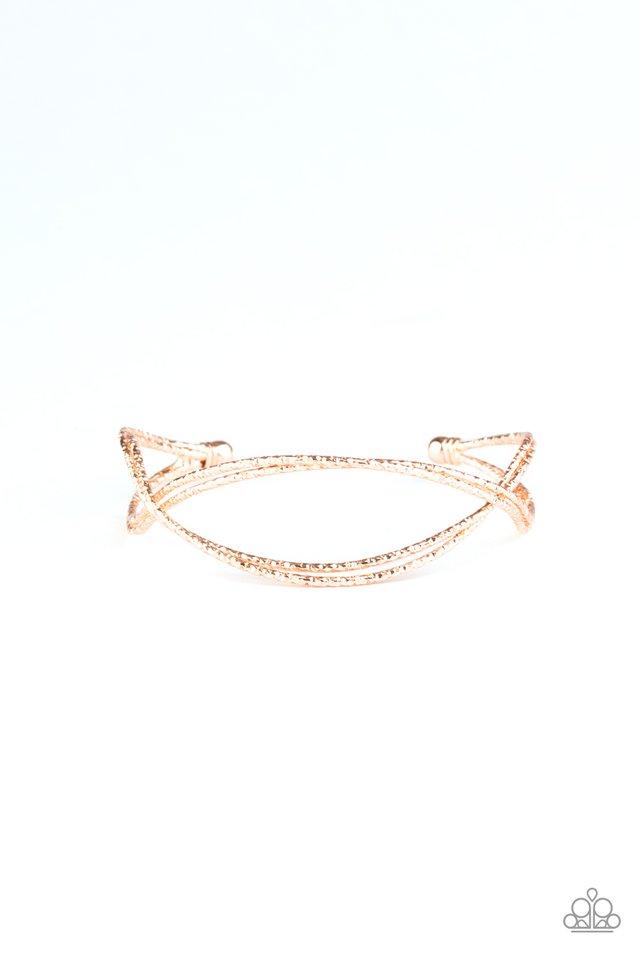 Bending Over Backwards - Rose Gold - Paparazzi Bracelet Image
