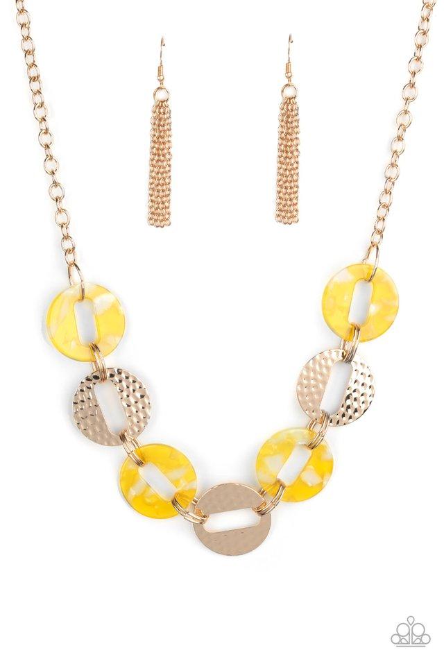 Retro Retrograde - Yellow - Paparazzi Necklace Image