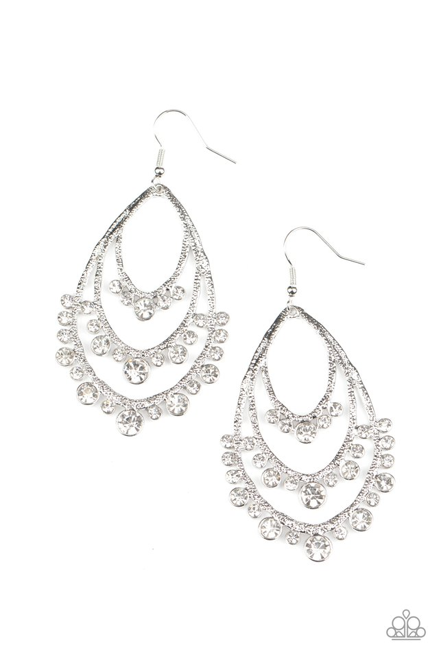 Break Out In TIERS - White - Paparazzi Earring Image