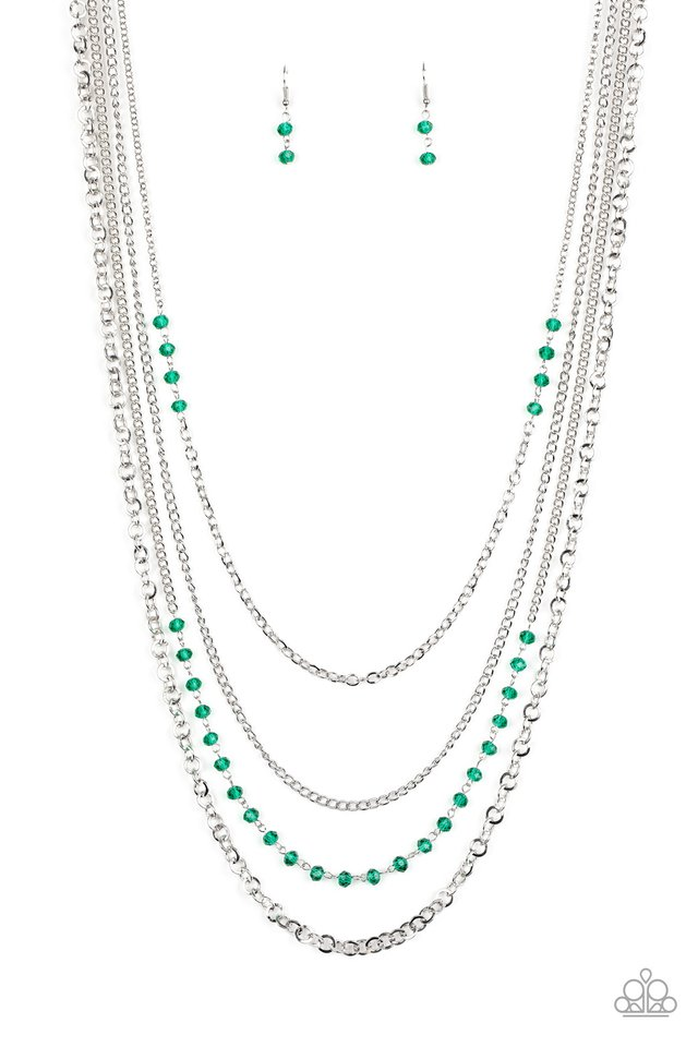Flickering Lights - Green - Paparazzi Necklace Image