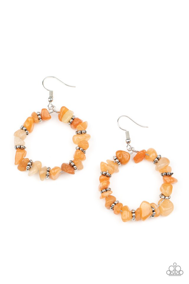Going for Grounded - Orange - Paparazzi Earring Image