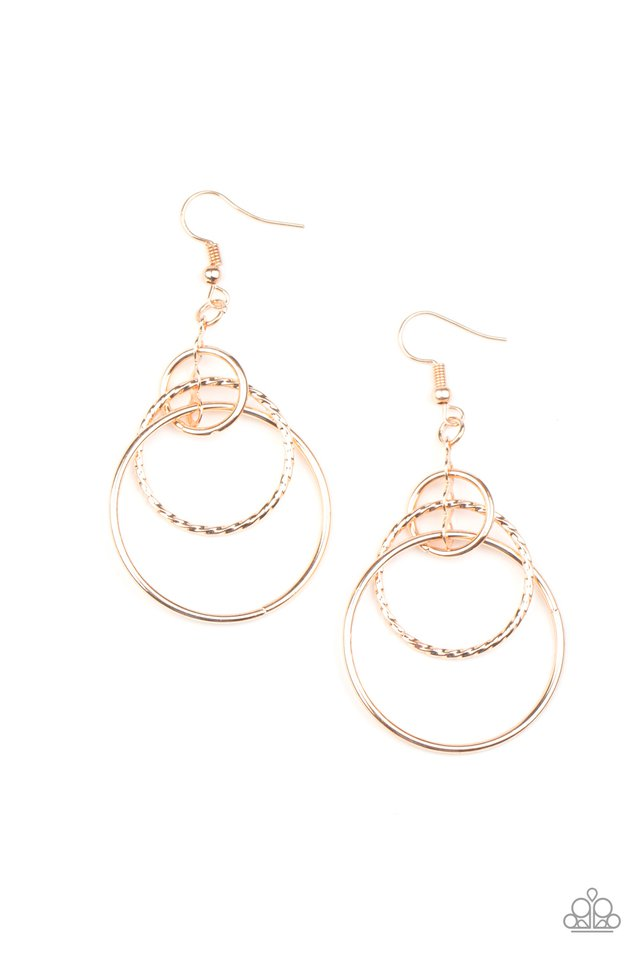 Three Ring Couture - Rose Gold - Paparazzi Earring Image