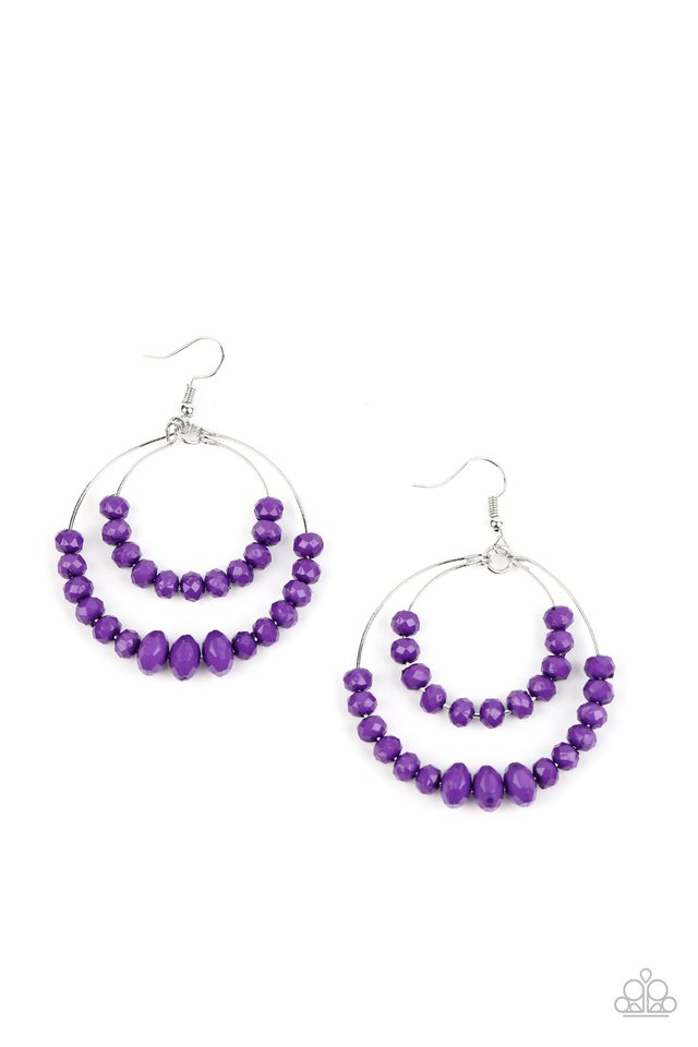 Paradise Party - Purple - Paparazzi Earring Image
