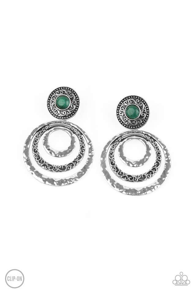 Bare Your Soul - Green - Paparazzi Earring Image