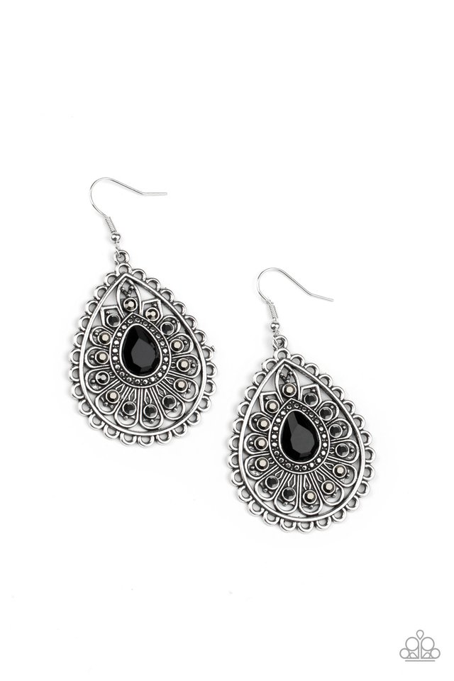 Eat, Drink, and BEAM Merry - Black - Paparazzi Earring Image