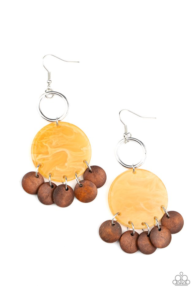 Beach Waves - Yellow - Paparazzi Earring Image