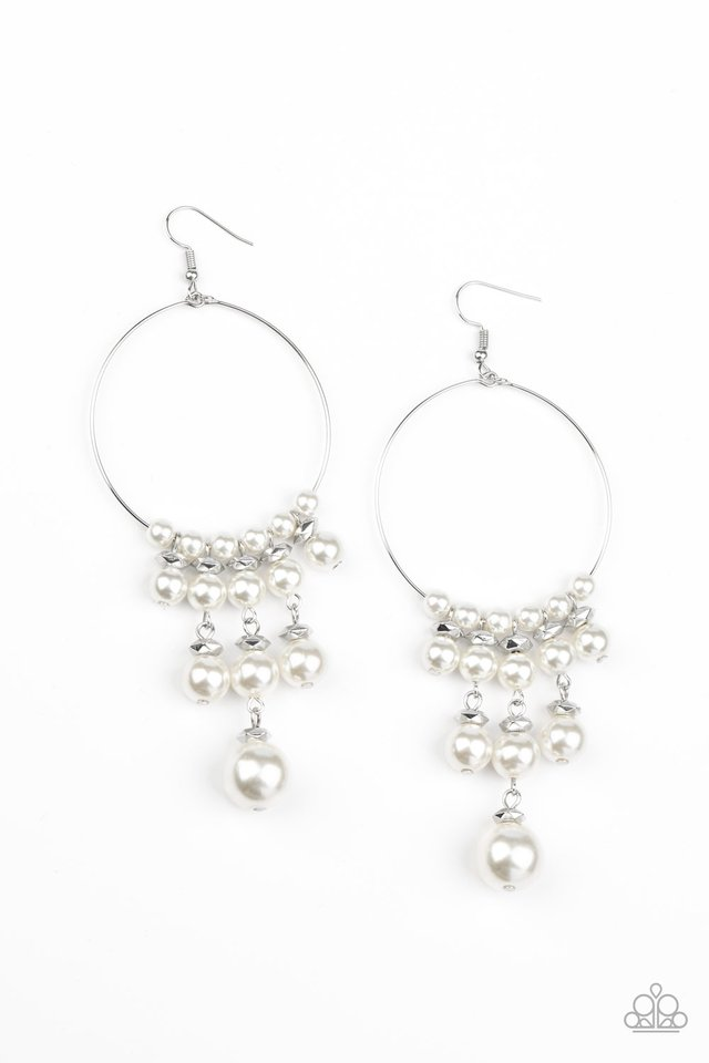 Working The Room - White - Paparazzi Earring Image