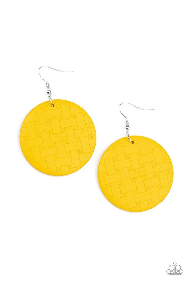 Natural Novelty - Yellow - Paparazzi Earring Image