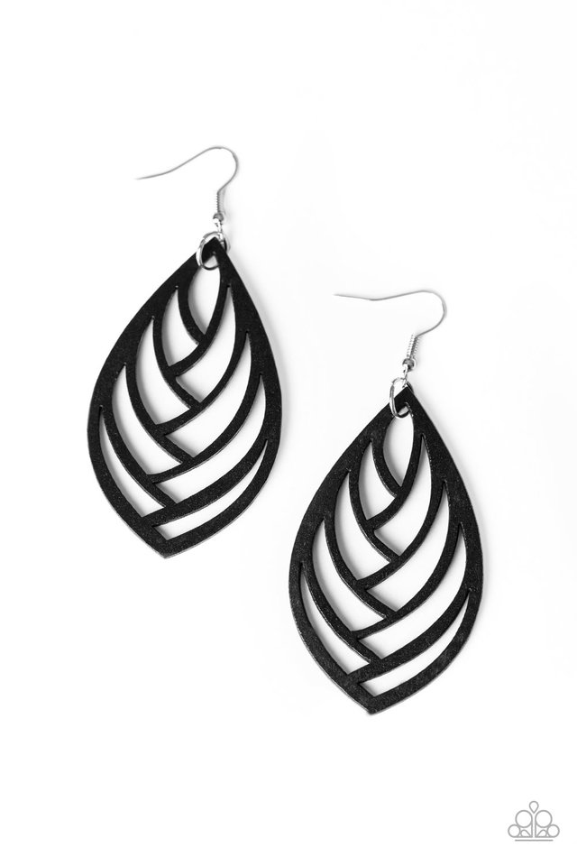 Out of the Woodwork - Black - Paparazzi Earring Image