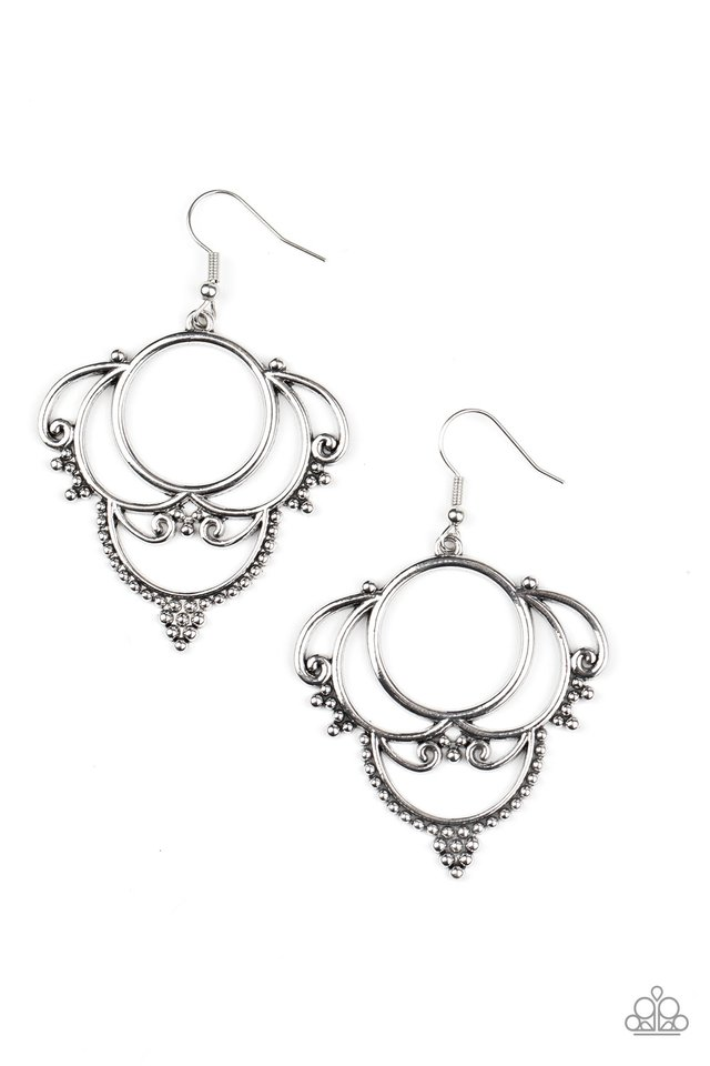 Metallic Macrame - Silver - Paparazzi Earring Image