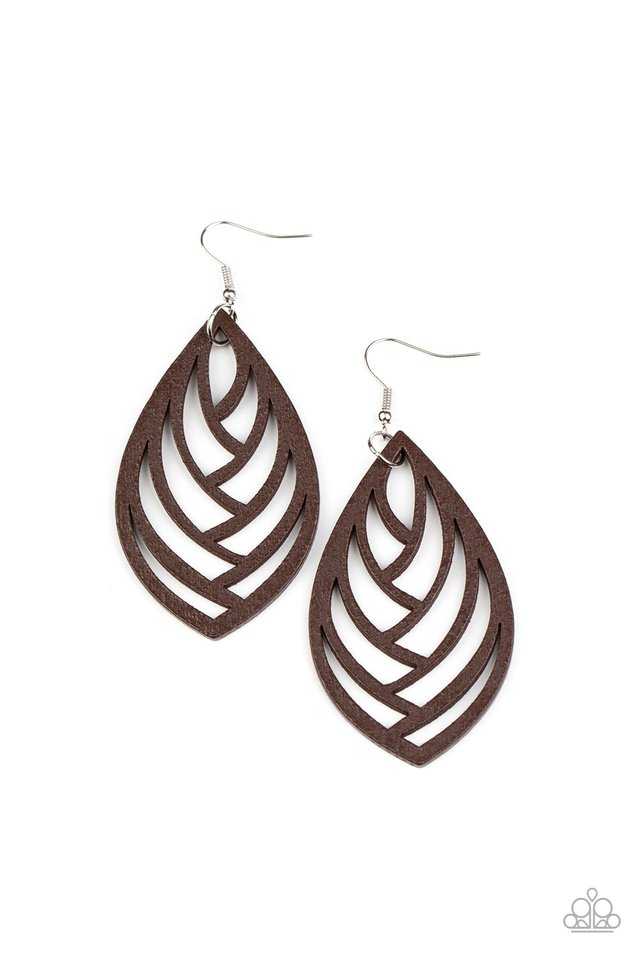 Out of the Woodwork - Brown - Paparazzi Earring Image