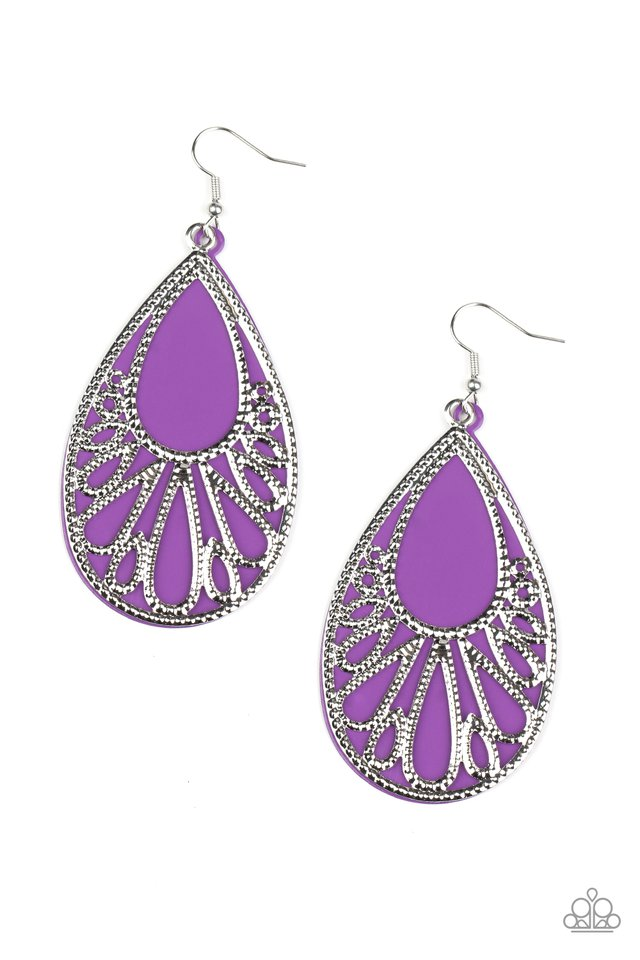 Loud and Proud - Purple - Paparazzi Earring Image