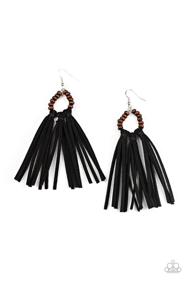 Easy To PerSUEDE - Black - Paparazzi Earring Image