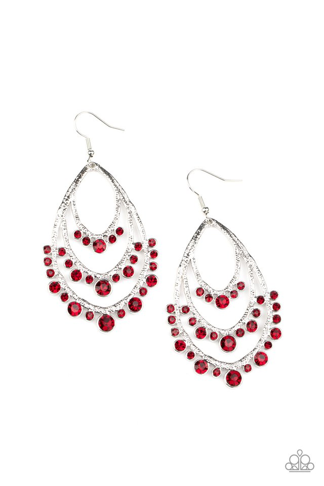 Break Out In TIERS - Red - Paparazzi Earring Image