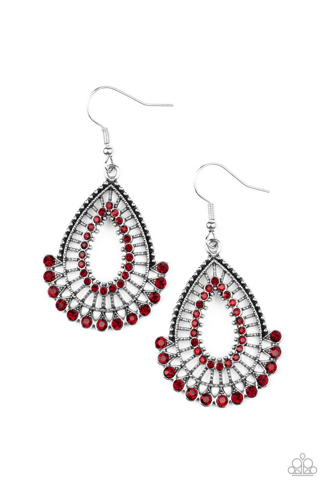 Castle Collection - Red - Paparazzi Earring Image