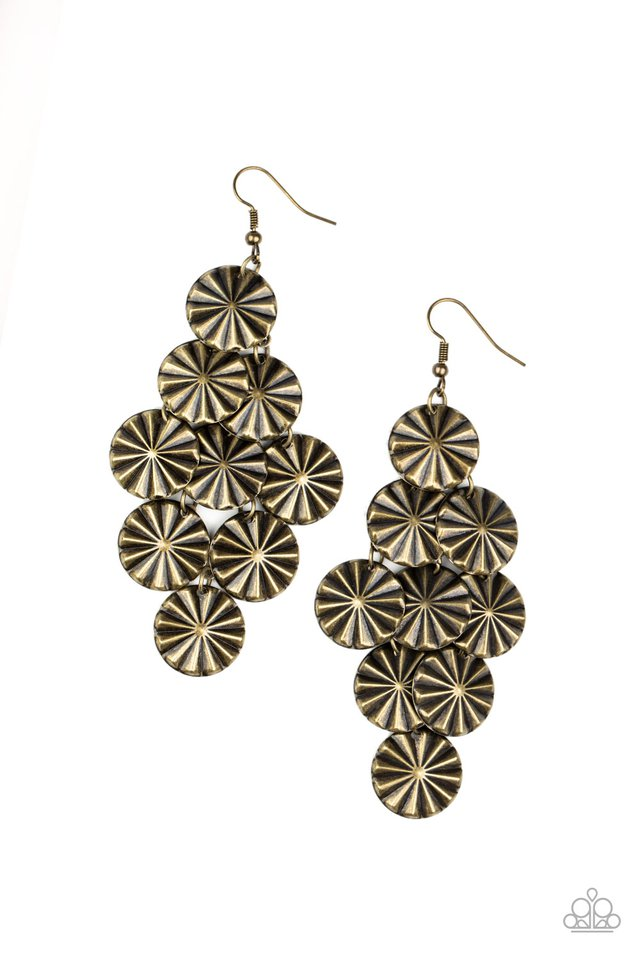 Star Spangled Shine - Brass - Paparazzi Earring Image