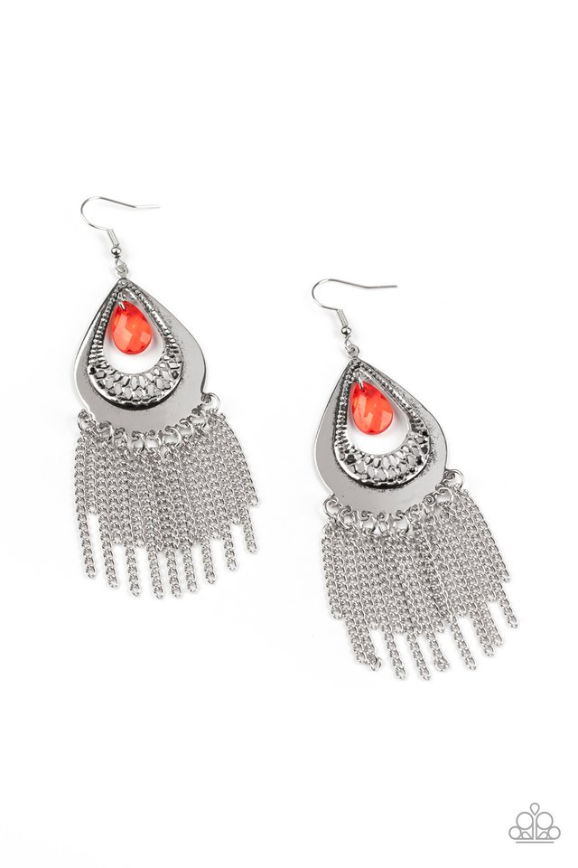 Scattered Storms - Red - Paparazzi Earring Image