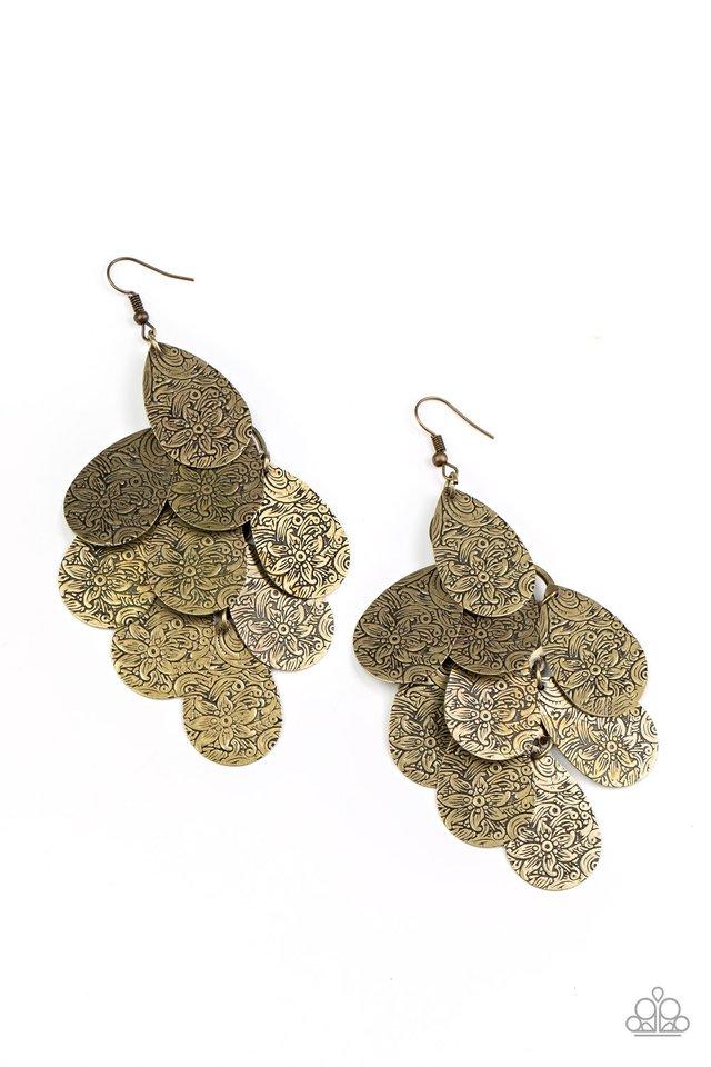 Hibiscus Harmony - Brass - Paparazzi Earring Image
