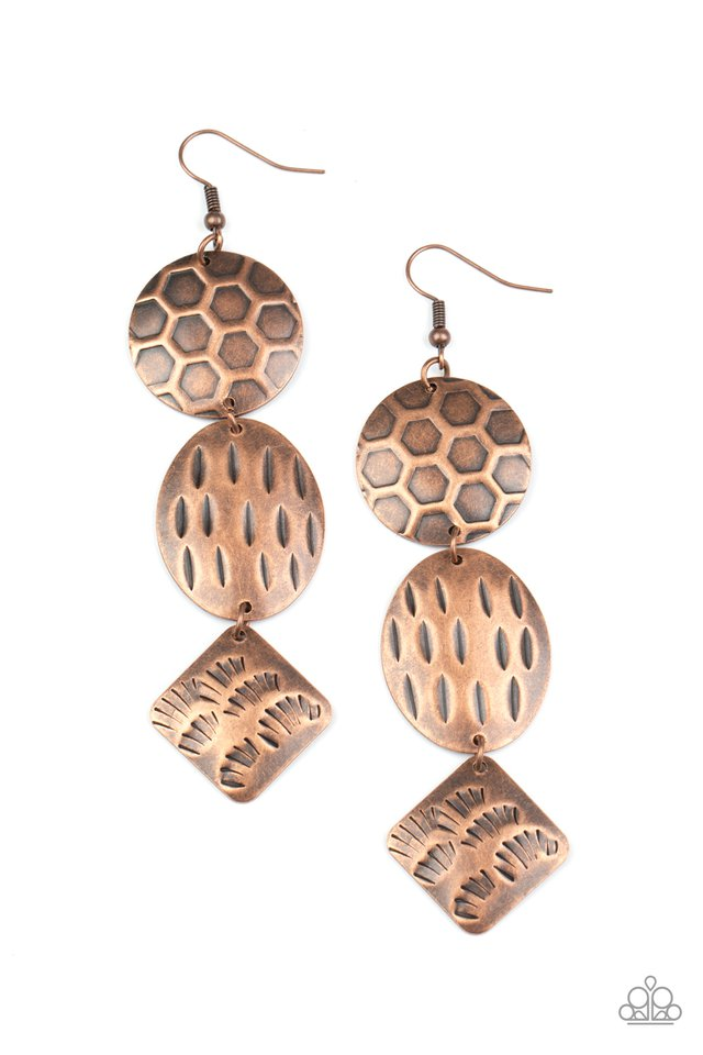 Mixed Movement - Copper - Paparazzi Earring Image