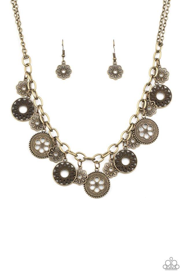 Meadow Masquerade - Brass - Paparazzi Necklace Image