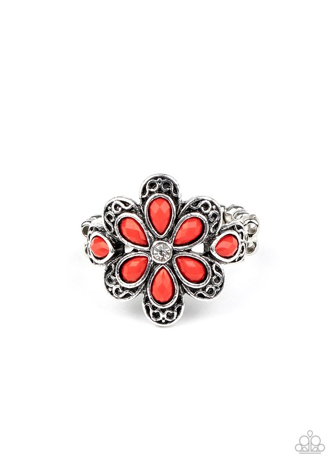 Fruity Florals - Red - Paparazzi Ring Image