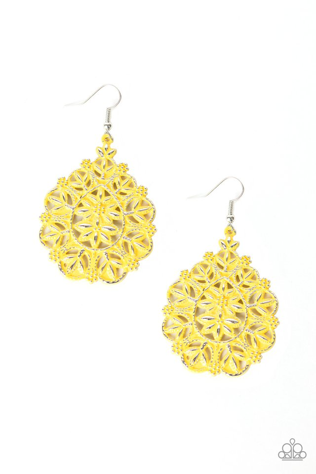 Floral Affair - Yellow - Paparazzi Earring Image