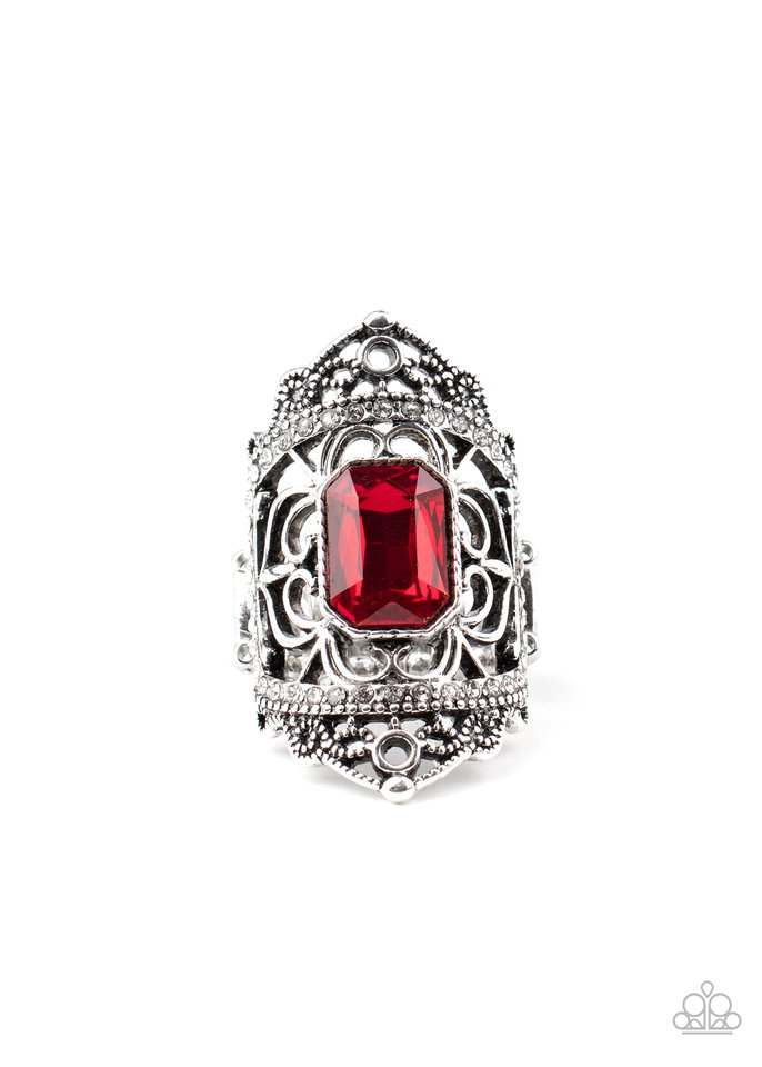 Undefinable Dazzle - Red - Paparazzi Ring Image