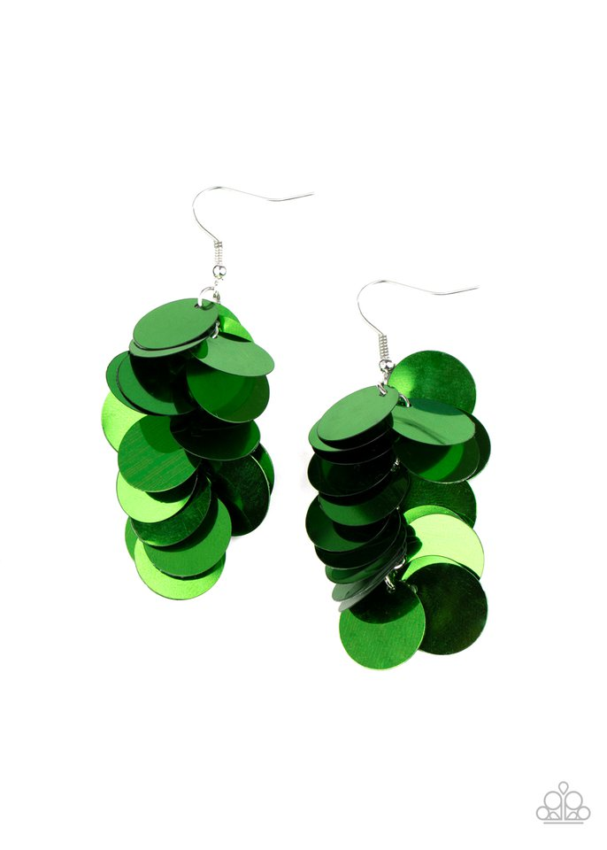 Now You SEQUIN It - Green - Paparazzi Earring Image