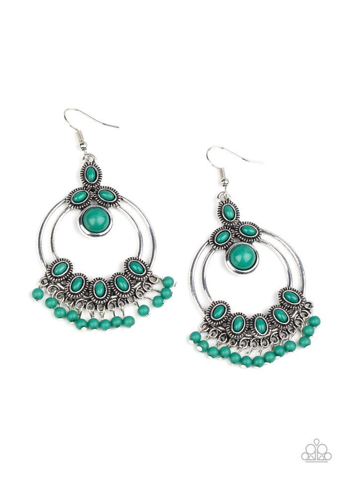 Palm Breeze - Green - Paparazzi Earring Image