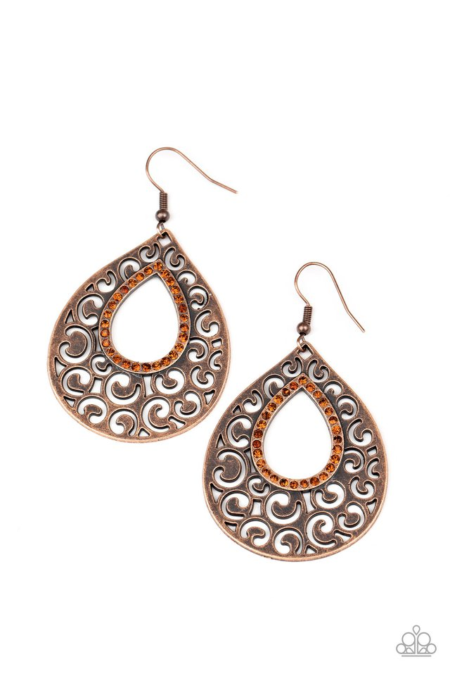 Airy Applique - Copper - Paparazzi Earring Image