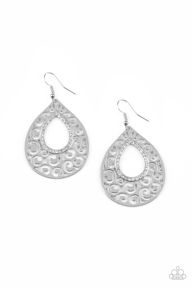 Airy Applique - White - Paparazzi Earring Image
