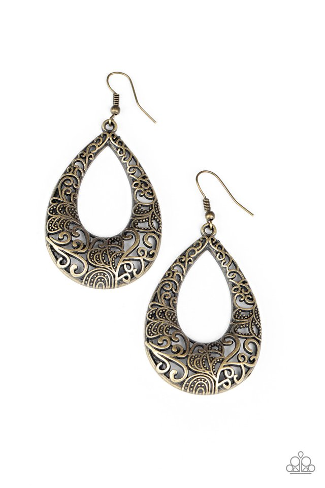 Get Into The GROVE - Brass - Paparazzi Earring Image
