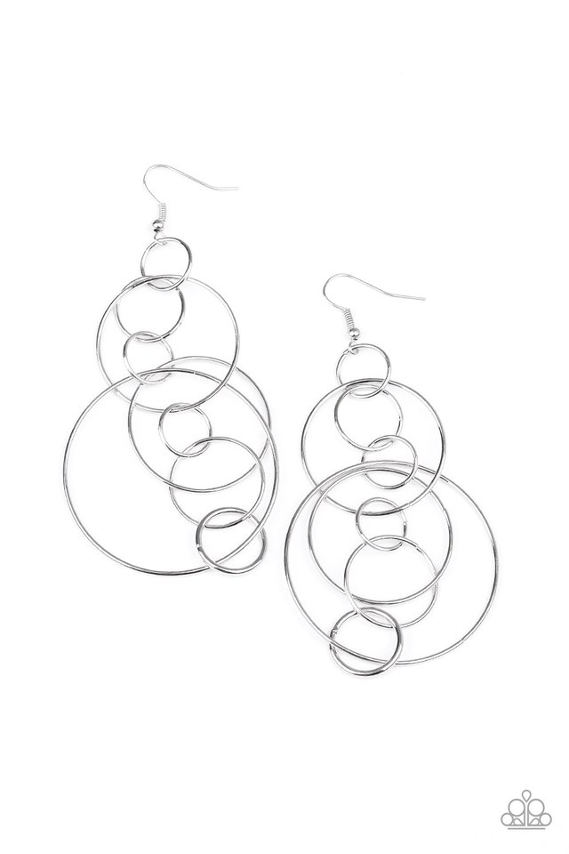 Running Circles Around You - Silver - Paparazzi Earring Image