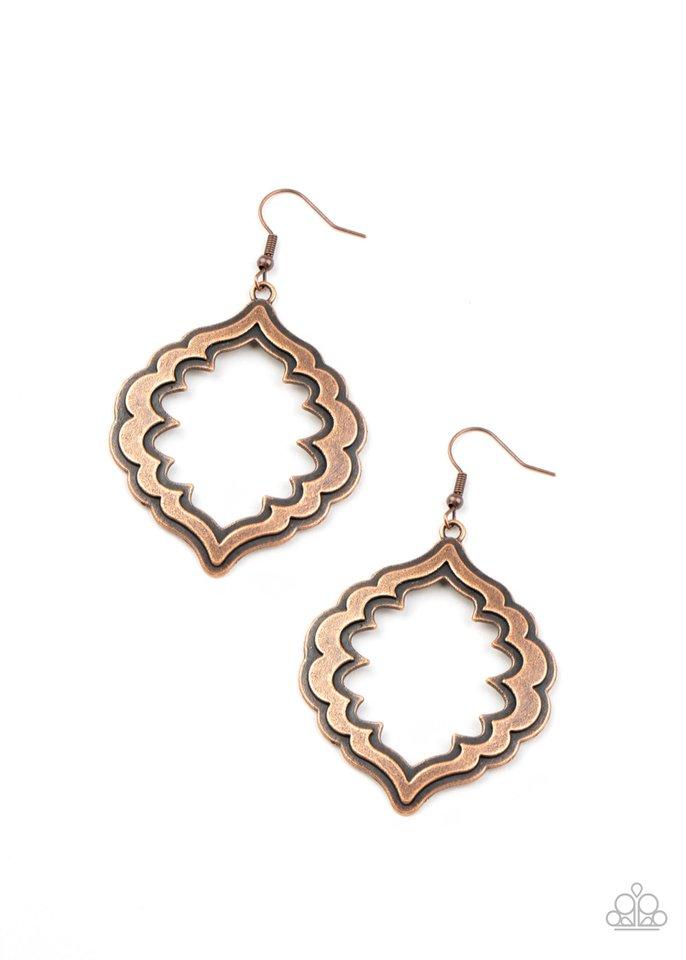 Taj Mahal Majesty - Copper - Paparazzi Earring Image