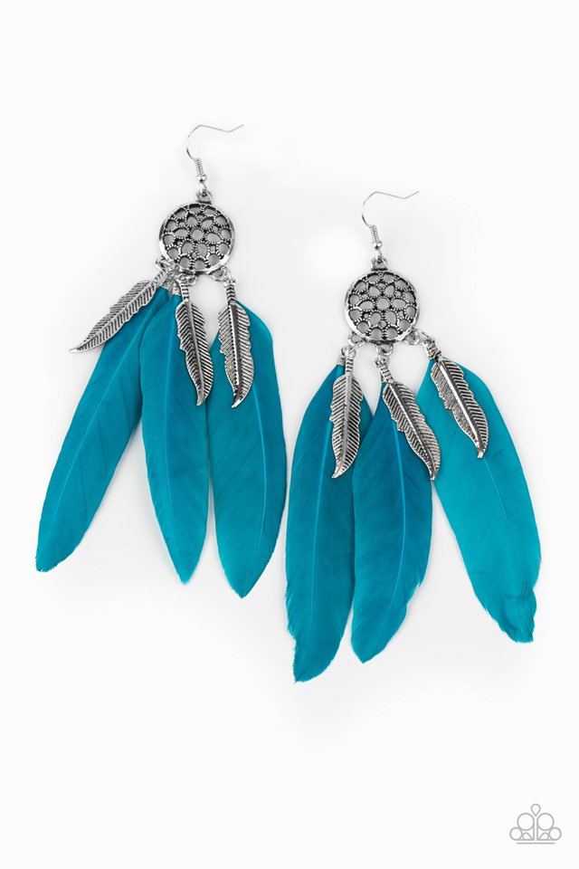 In Your Wildest DREAM-CATCHERS - Blue - Paparazzi Earring Image