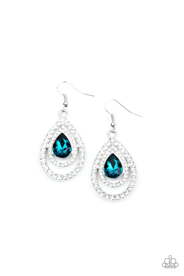 So The Story GLOWS - Blue - Paparazzi Earring Image