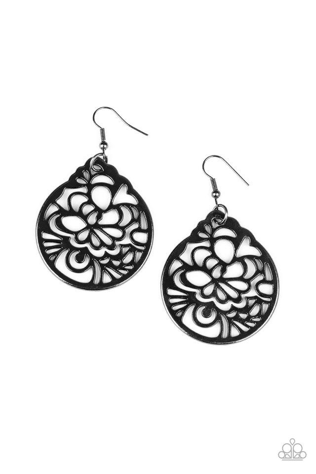 Garden Mosaic - Black - Paparazzi Earring Image
